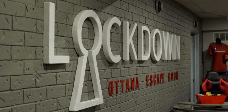 Indoor sign Lockdown Ottawa Escape Rooms - Escape Games -Gloucester - East End Ottawa