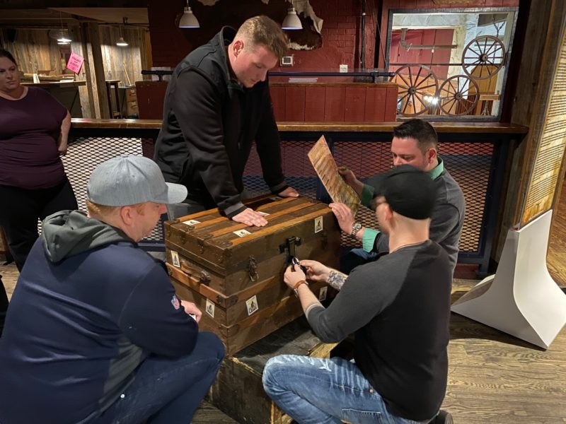 Players solving a puzzle in Locktown and the Bandit's Escape