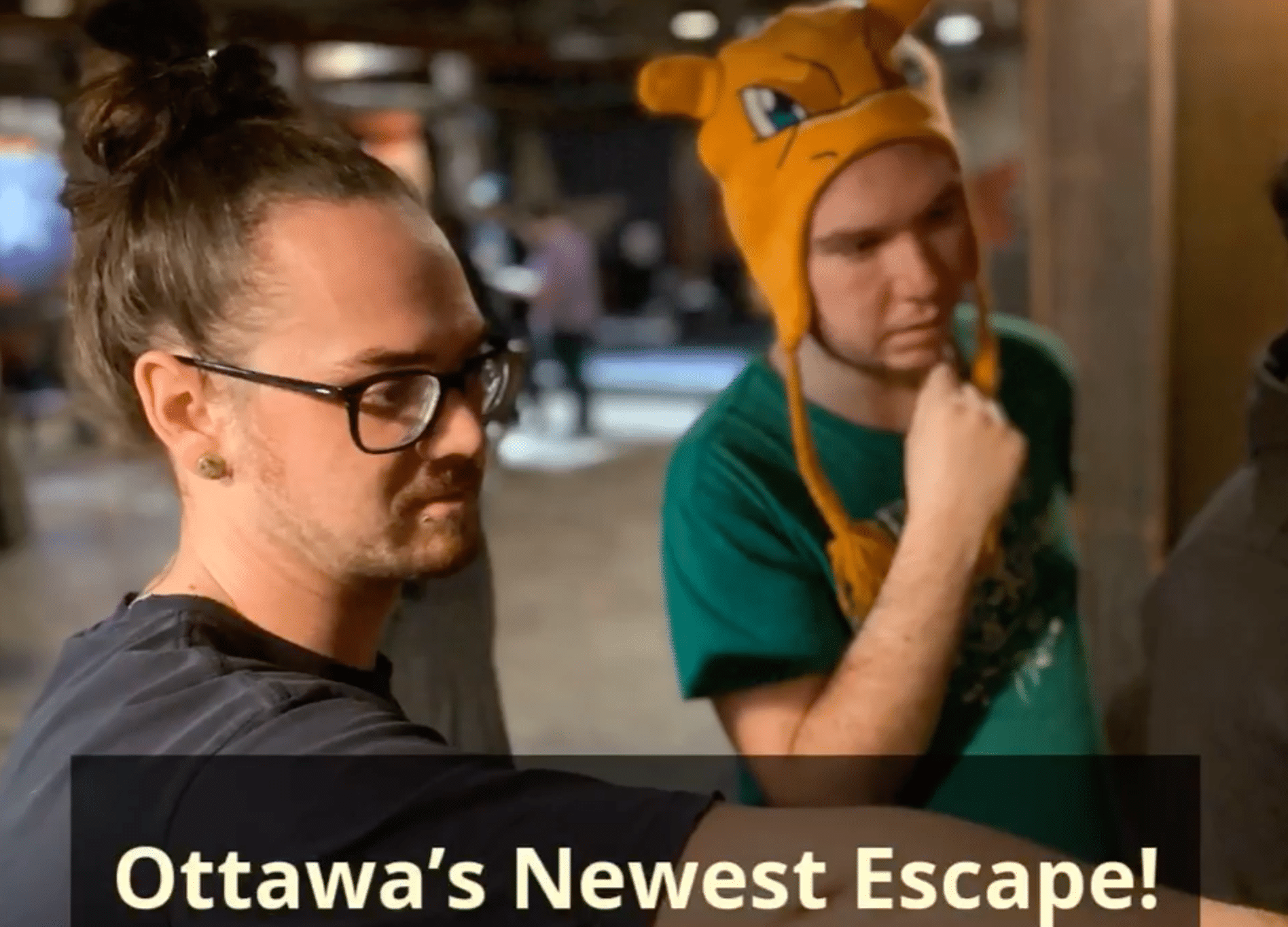 Two players solving a puzzle in the Escape Room, Locktown and the Bandit's Escape